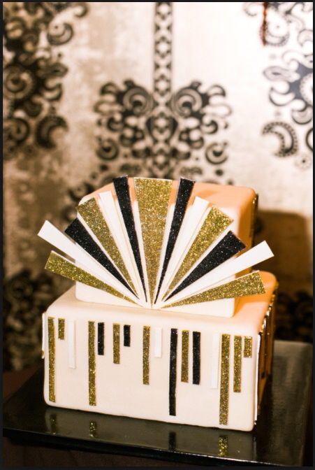 Gold embellished art deco cake