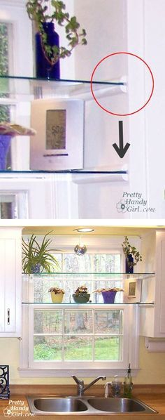 install glass shelves in your kitchen window for plants and herbs