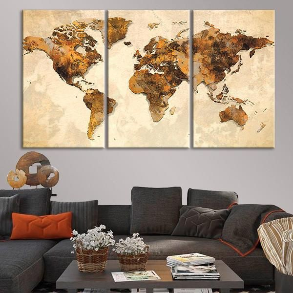 b1c13f5704fc Rustic World Map Multi Panel Canvas Wall Art by ElephantStock is printed  using High-Quality