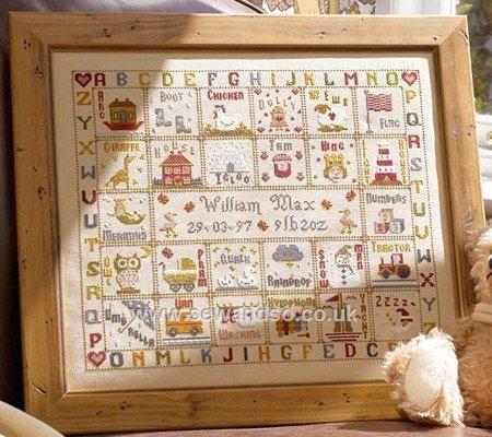 Buy A is for Ark Birth Sampler Cross Stitch Kit online at sewandso.co.uk