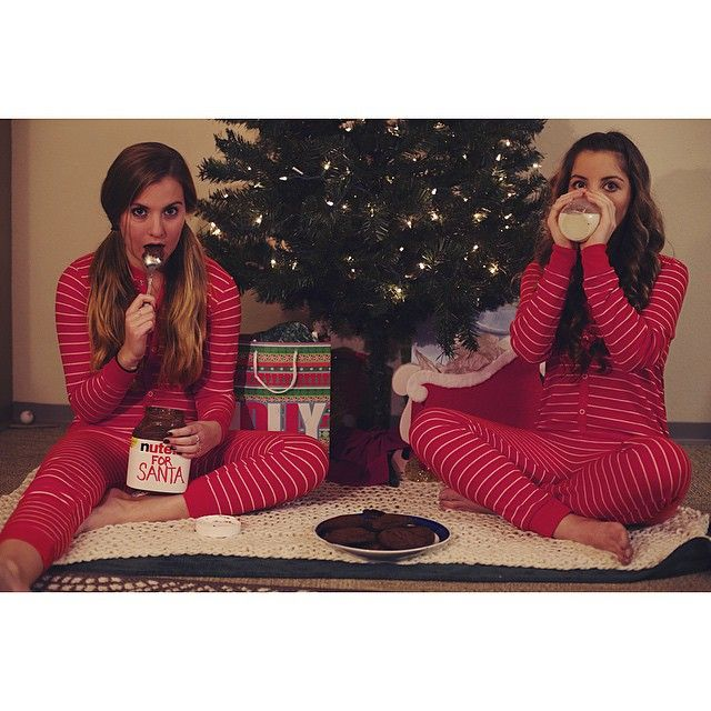 Roommate holiday Christmas card featuring Target onesies and Nutella :)