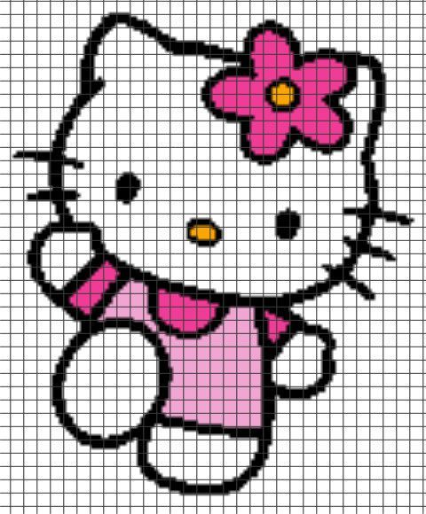 Hello Kitty Crochet Graphghan Pattern (Chart/Graph AND Row-by-Row Written Instructions):