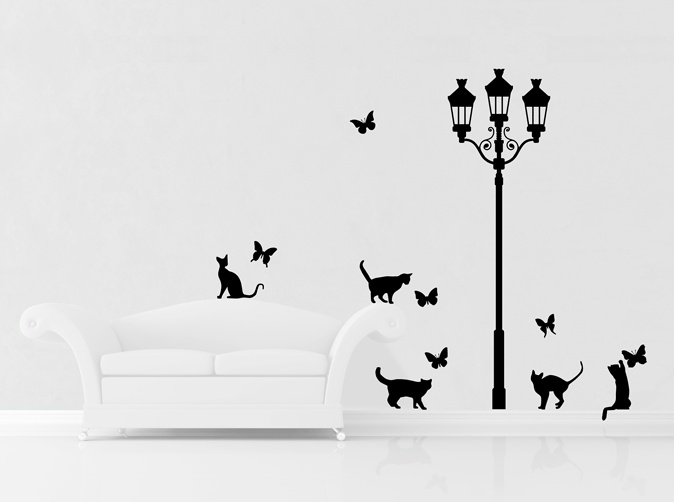 Cats and Butterflies under French style street lamp by www.yourdecalshop.co.nz