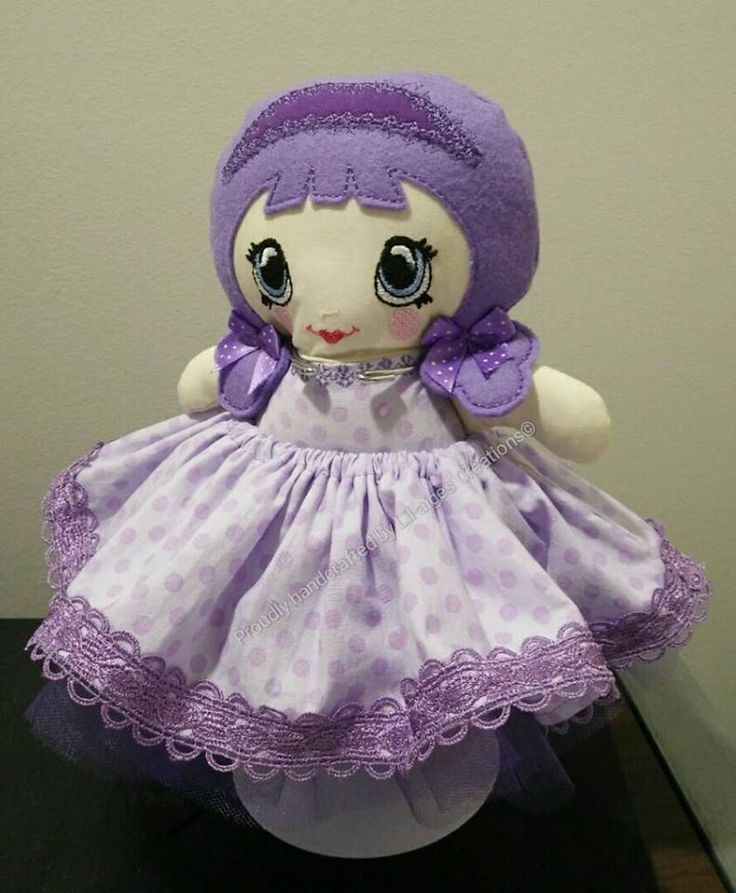 Gorgeous Tiny Tilda Rag Doll created in a range of purples.  Doll and Clothing Pattern by:  www.dollsanddaydreams.com