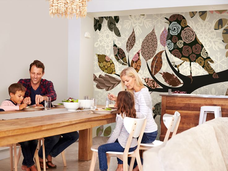 Wall decor ideas for kitchen and dining room! Try this cozy look: match wooden furniture and patchwork wallpaper