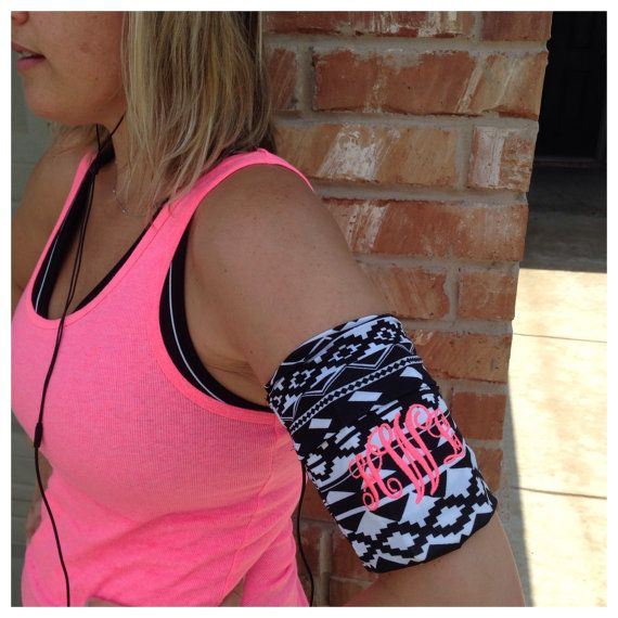 Monogrammed jogging stretch fabric phone holder armband by SayLaVeePersonality, $19.99 finally somewhere to put the phone, keys and music while you jog