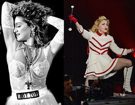 # Madonna   The 80s was a huge time for Madonna, she released her debut album (and a few others as well), it was the decade of Holiday, Like a Virgin, and Material Girl. It was also the decade that she married Sean Penn! She was at the height of her fame, she was influencing fashion and was basically what Lady Gaga is to us now. She's continued since the 80s to make music and is still doing tours. We think that she should probably let it go, you don't look so hot now Madge…