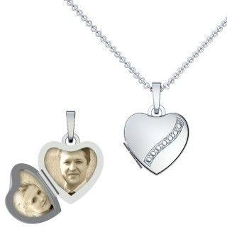 Originelle Liebesgeschenke - Echtsilber-Halskette Foto-Medaillon - Herz, viele weitere Geschenkideen unter http://www.magicofword.com/witzige-geschenke/valentinstag