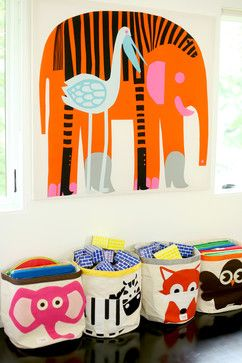 Colorful Playroom #kids #storage #animals #marimekko