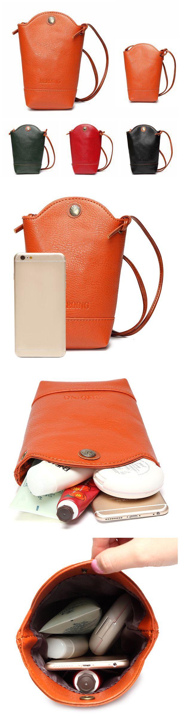 US$8.14 Woman Irregular Little Phone Bag Casual PU Crossbody Bag Bucket Bag