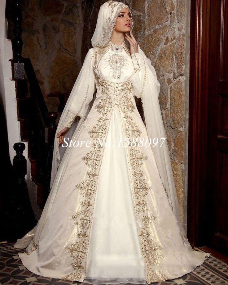 Новое поступление мусульманин саудовская аравия свадебное платье вышивка высокая шея с длинным рукавом кот мусульманские свадебные платья с бесплатной хиджаб купить на AliExpress
