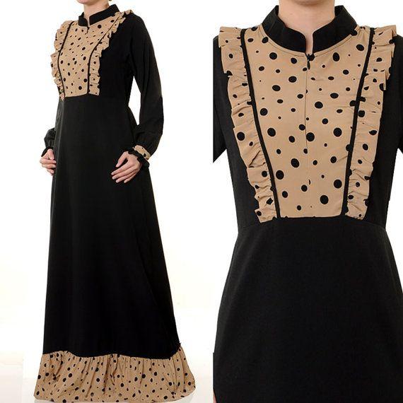 2544 Mandarin Neck Polkadot Women Muslim Abaya Long by MissMode21