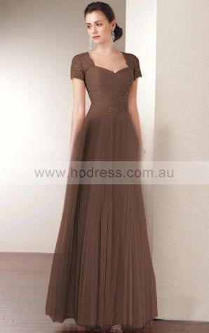 Short Sleeves Zipper Sweetheart Floor-length Tulle Evening Dresses esaa1102--Hodress