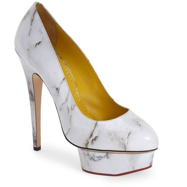 """Charlotte Olympia 'Dolly' Platform Pump, 5 1/2"""" heel (1 175 AUD) ❤ liked on Polyvore featuring shoes, pumps, heels, shoe's, white marble leather, white heel pumps, white pumps, platform shoes, round toe platform pumps and white leather pumps"""