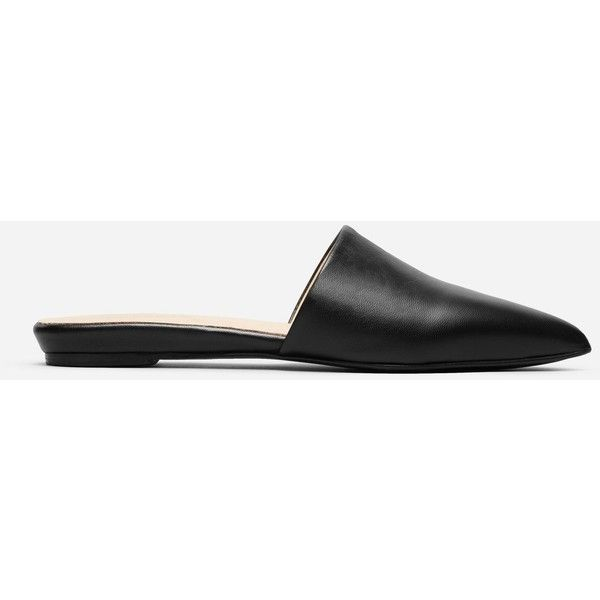 Everlane Women's Pointed Slide ($145) ❤ liked on Polyvore featuring shoes, black, black pointed toe shoes, pointed shoes, pointy toe shoes, slip on shoes and pull on shoes