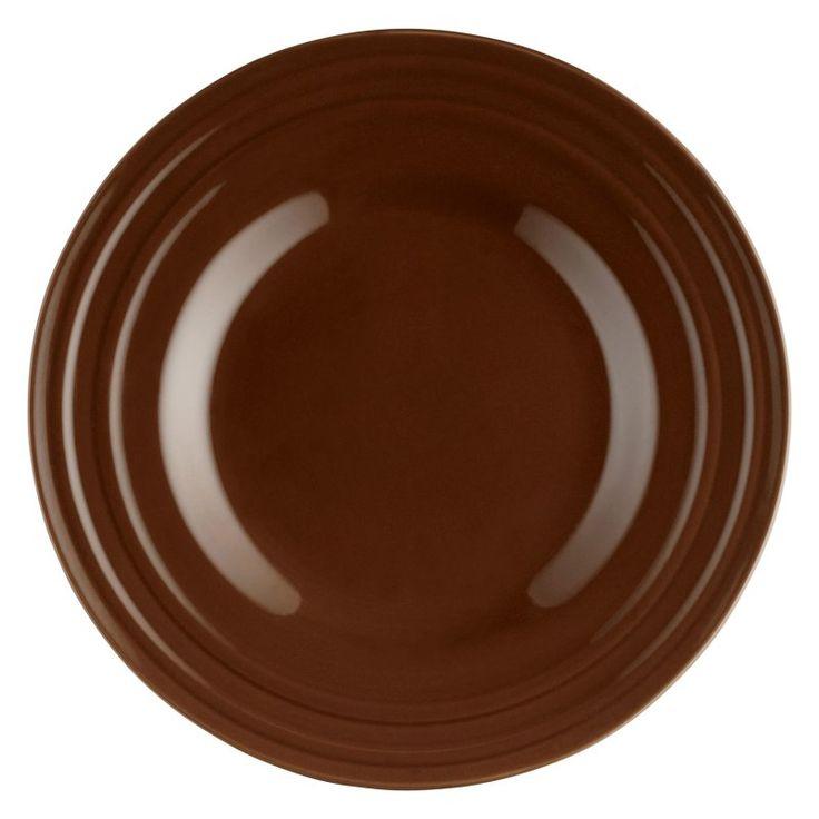 Rachael Ray Double Ridge Brown Dinnerware Salad Plates - Set of 4 - 58245