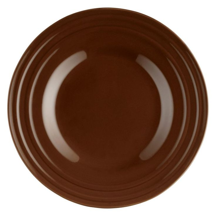 Rachael Ray Double Ridge Brown Dinnerware Salad Plates - Set of 4 - 58245