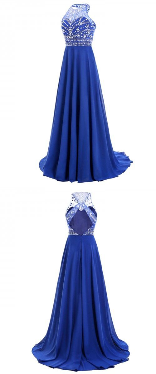 royal blue long prom dresses, cheap prom dress under 50, open back party dress with beading