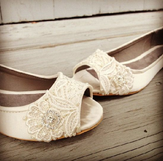 b342d0130dd853 Wedding Shoes - French Knotwork Lace Peep Toe Flats - Pearls and Crystals -  White Ivory Custom Colors