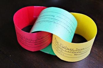 """Leesidee: Boeken ( korte beschrijving op een strook)gelezen door de kinderen,aan elkaar maken als een """"ketting"""""""