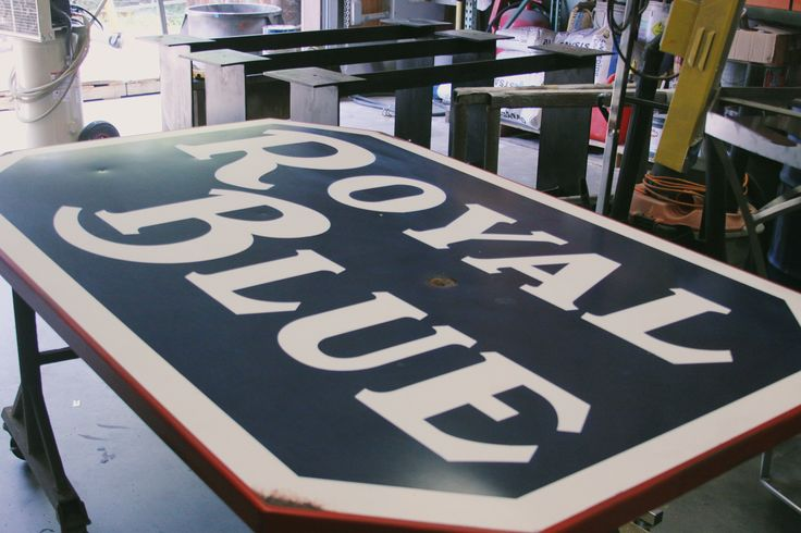 Royal Blue Grocery Vintage Replica Sign by Ion Art, INC. #royalbluegrocery #austin #atx #texas #ionart #grocery #store #custom #vintage #replica #porcelain #aluminum #paint #hole #distress #rad #awesome #sign