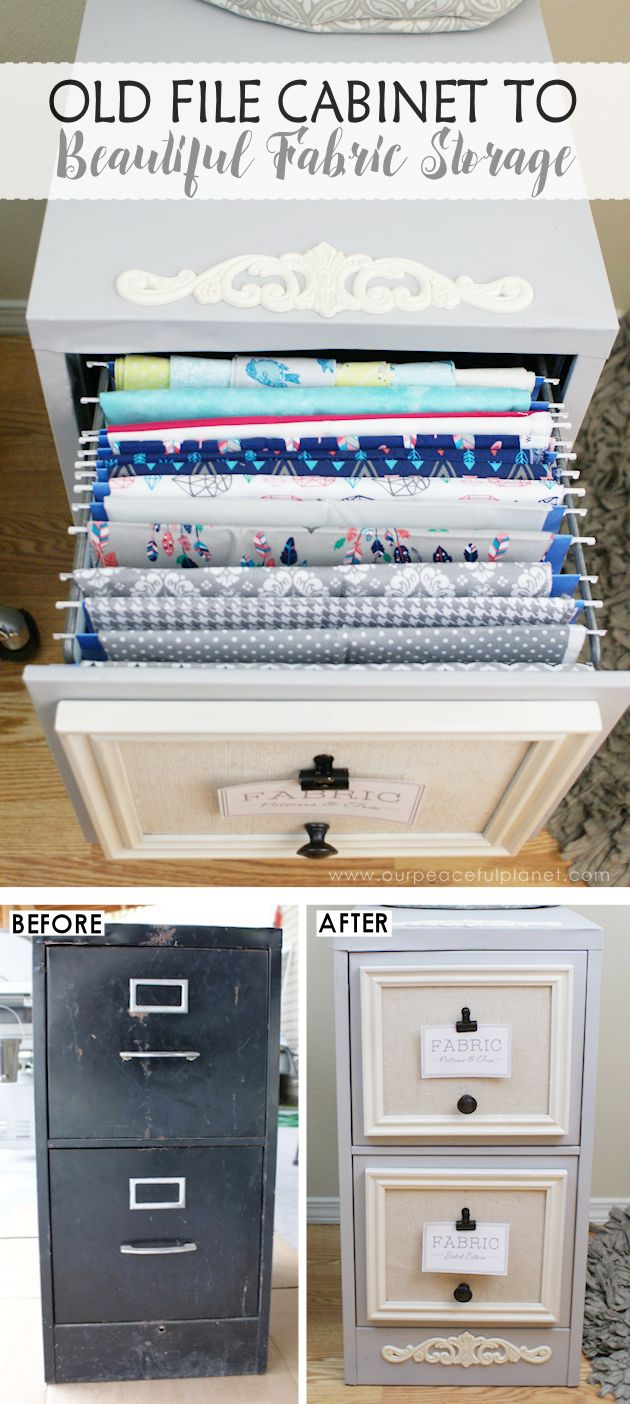2 Drawer File Cabinet Makeover For Fabric Storage ·