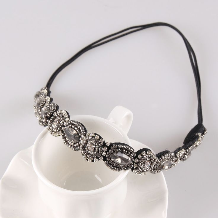 Fashion Handmade Rhinestone Headband Beads Head Jewelry Headbands for Women 1H2001