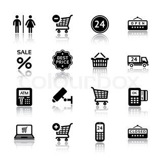 Touch points. Set pictograms supermarket services, Shopping Icons