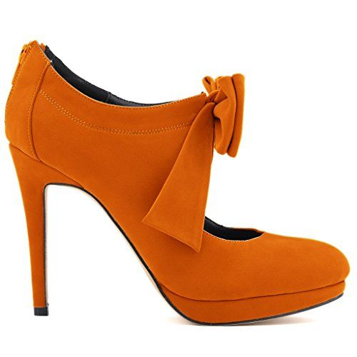 ZriEy Ladies Lucky Womens Bowknot High Heel Behind Zipper Bootie Boots Orange size 85 * You can get more details by clicking on the image.-It is an affiliate link to Amazon.