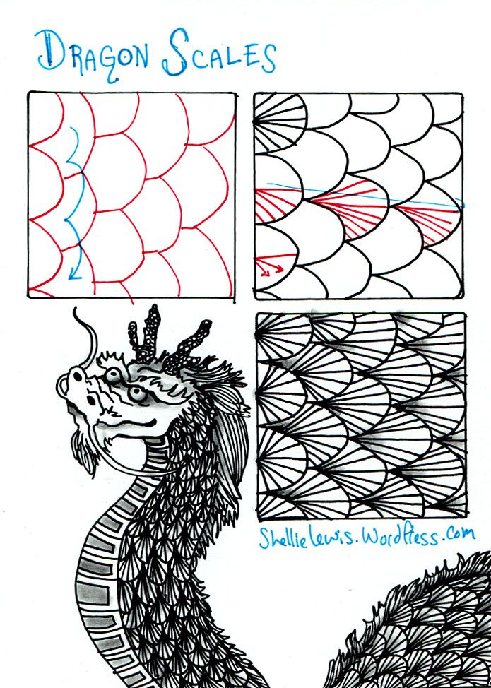 tangle patterns   tangle-dragon-scales.jpg (695×974)   Zentangle & Doodle Patterns
