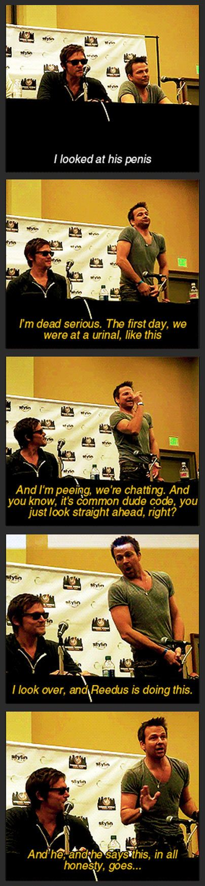 Love these two!  Click the picture to see the whole dialog. Classic Norman! I love his head nod at the end! Lol!