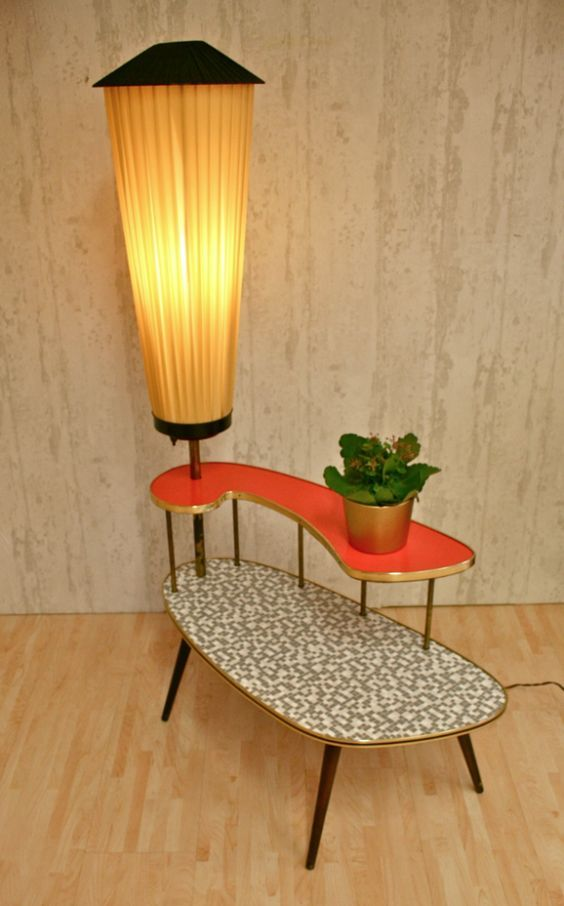Amazing Mid Century Modern Plant Table With Orange Built