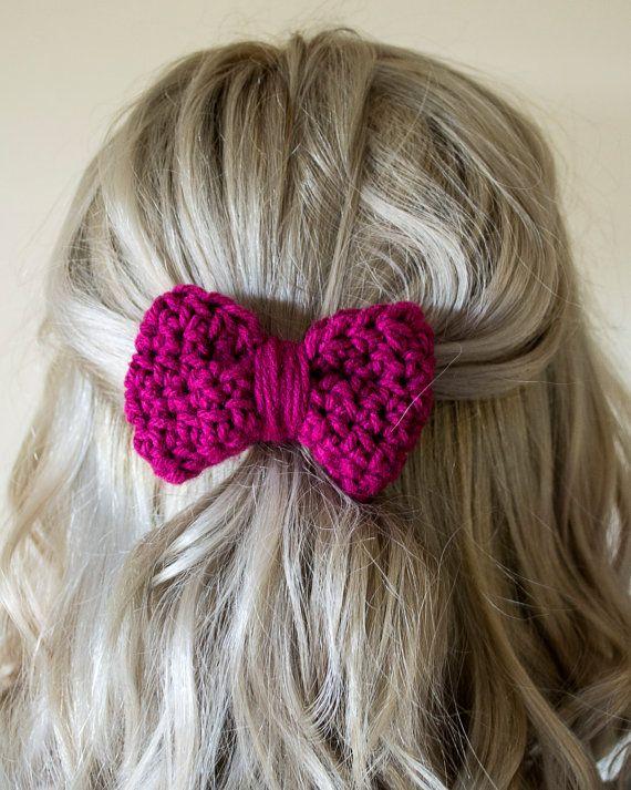Crochet Hair Ribbons : ideas about Crochet Hair Bows on Pinterest Hair Clips, Crochet Hair ...