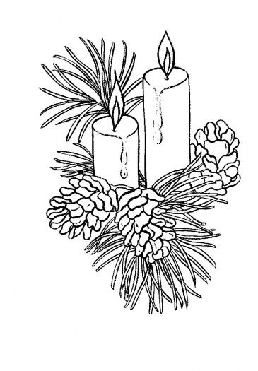 christmas candle with wreath and pine cones coloring page