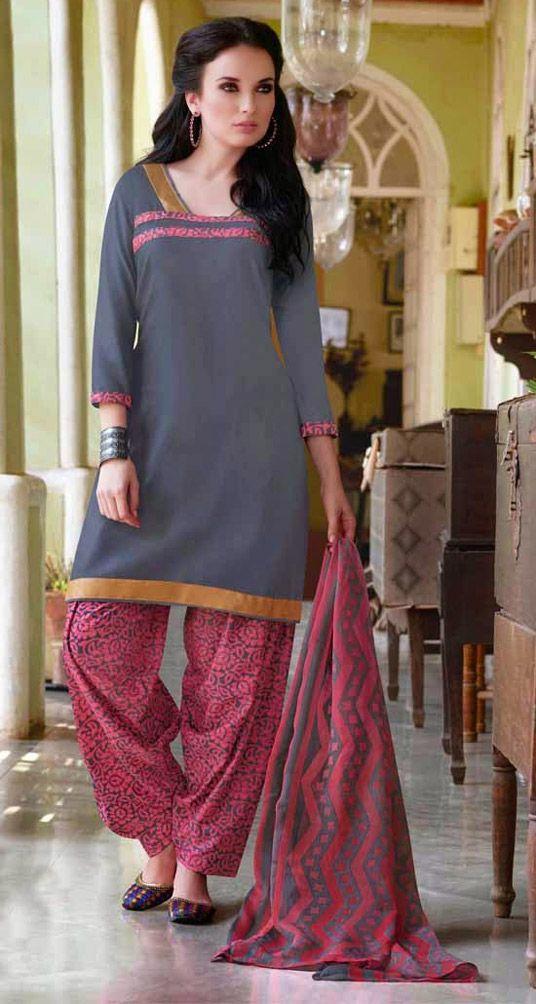 USD 28.46 Gray Cotton Patiala Suit 44394