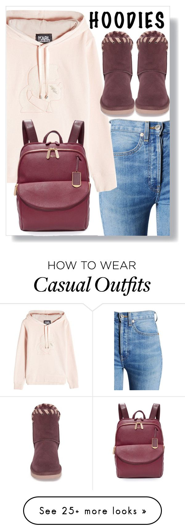 """""""Casual with hoodies"""" by aleks-g on Polyvore featuring RE/DONE, Karl Lagerfeld, UGG and Tumi"""