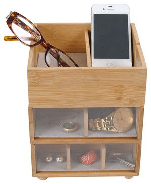 Bamboo Stackable Tabletop Valet With Phone Cradle - contemporary - Jewelry Boxes And Organizers - Great Useful Stuff