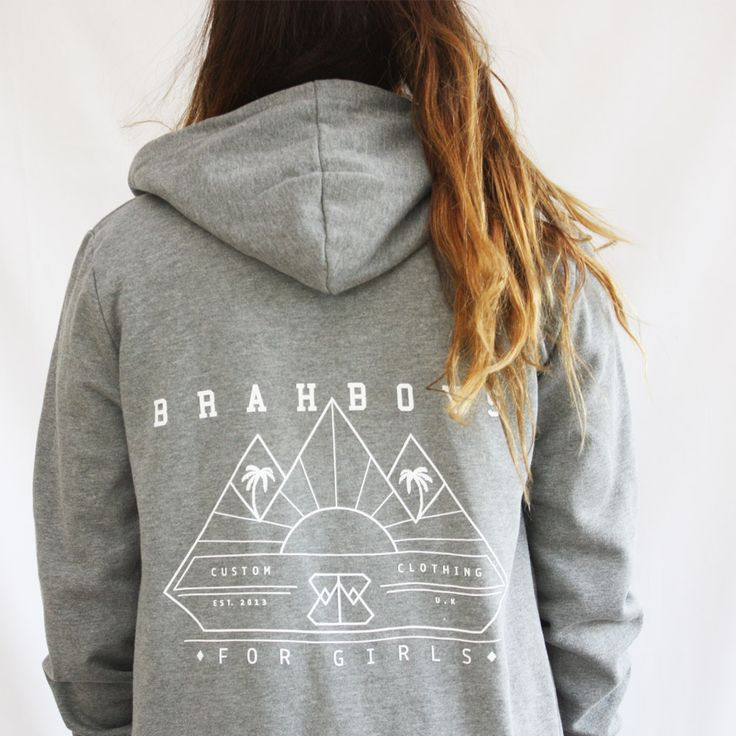 Womens Streetwear Palm Hoodie £36.00 Available in 2 colours! Grey marl or Burgandy.   Brahboys zipped hoodie with screen printed palm tree sunset logo on back. Brahboys logo on front left.