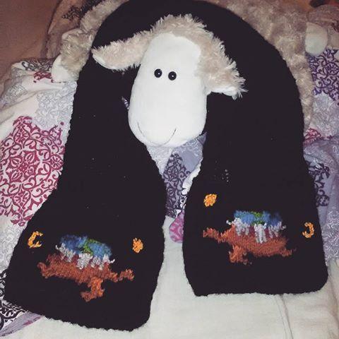 #knitting #handmade #discworld #terrypratchett #pratchett #pratchettfan #atuin #greatatuin #selfdesigned #dziewiarstwo #owca #pneuma #scarf #szalik