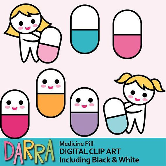 Cute pill clipart / medicine pill clip art commercial use /