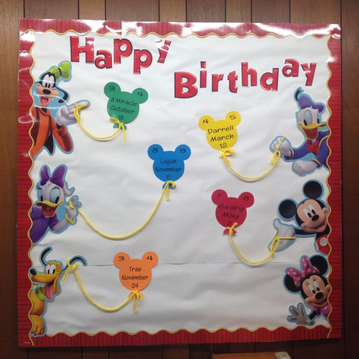 Mickey Classroom birthday bulletin :) I would add children's pictures to make it more personal