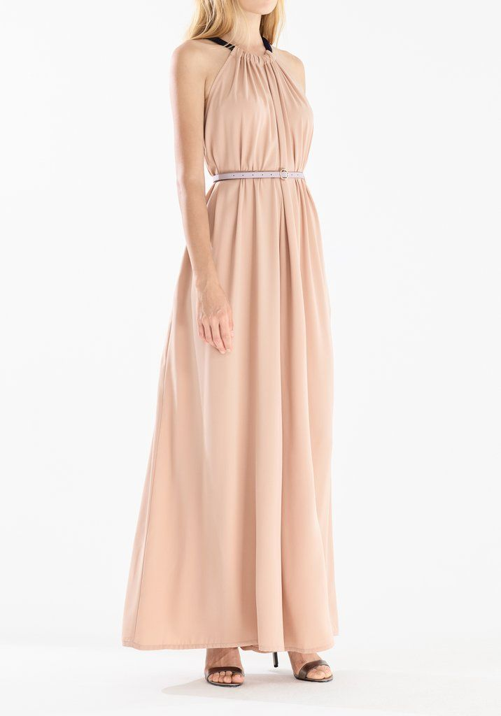 0469ddb8cb Two Tone Halterneck Jumpsuit with Pastel Belt (With Faux Leather Belt) in  Blush and Navy