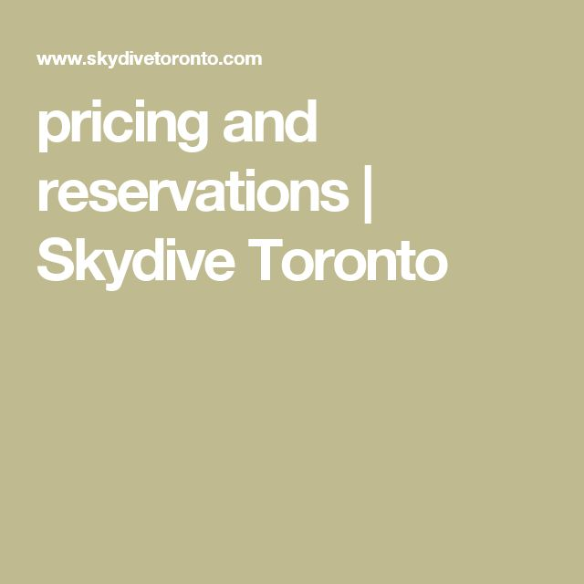 pricing and reservations | Skydive Toronto