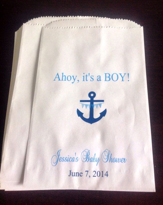 Ahoy It S A Boy Shower Favor Bags Nautical Baby Anchor Candy Buffet Buffets Pinterest