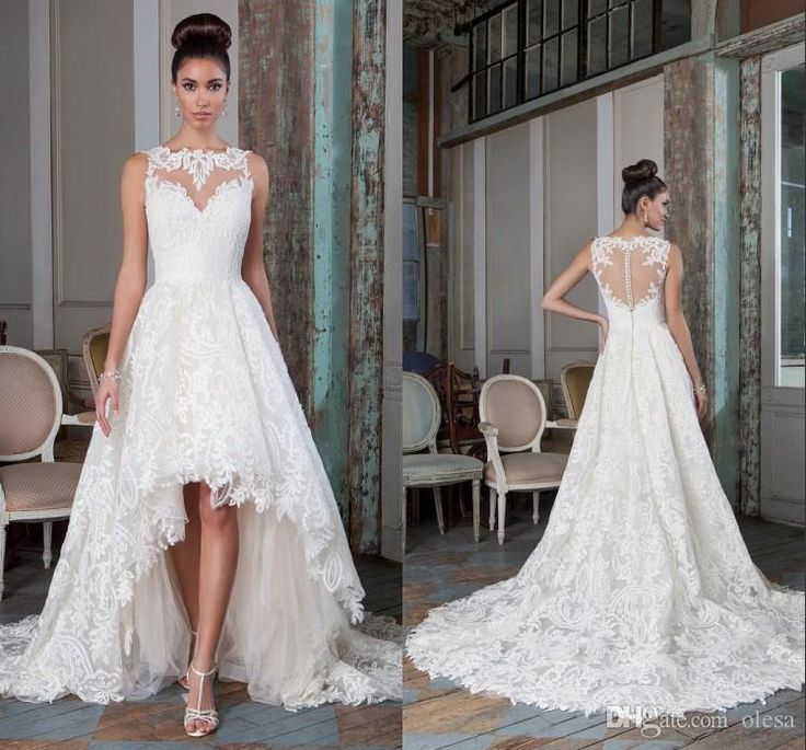 2016 Justin Alexander Signature Bridal High-low Wedding Dresses Gowns Lace  Vintage A Line Jewel