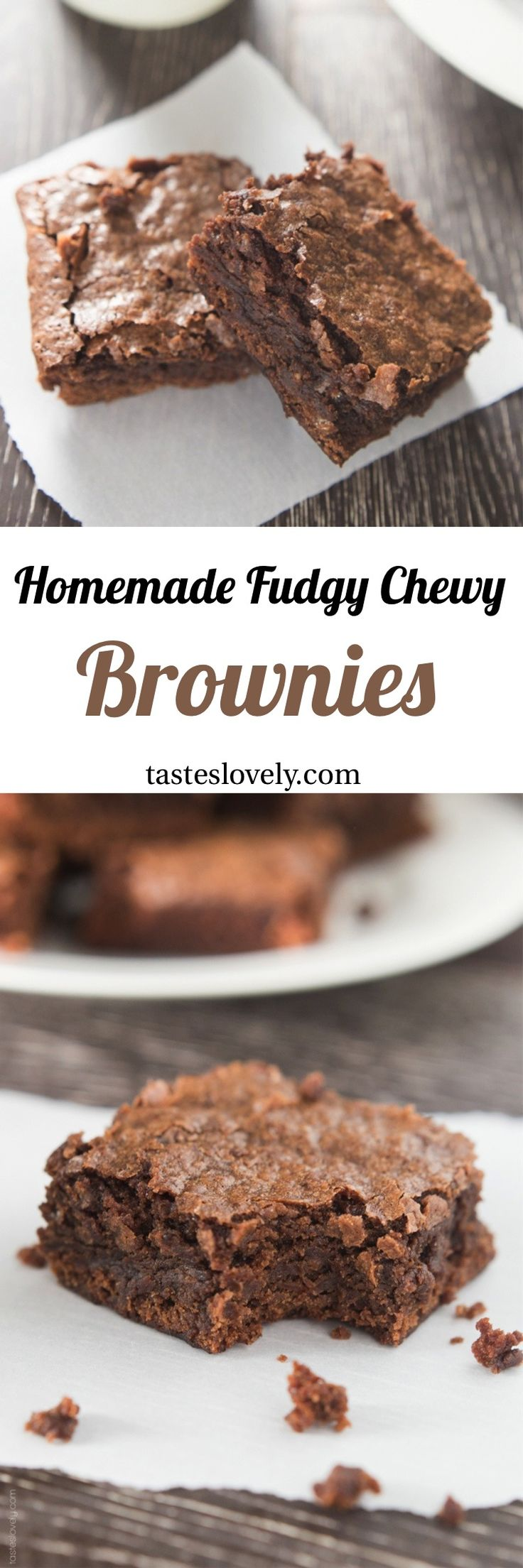 Fudgy chewy brownies taste exactly like a box mix, but better because they're homemade! {Recipe video!}