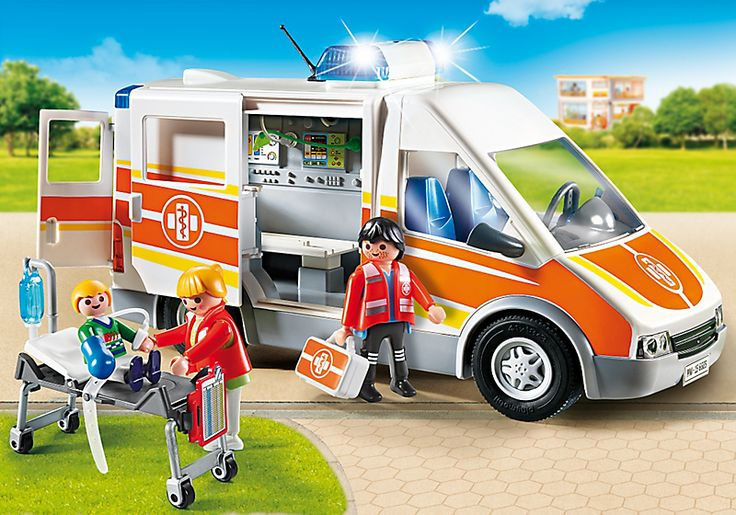 Ambulance avec gyrophare et sirène - 6685 - PLAYMOBIL® France