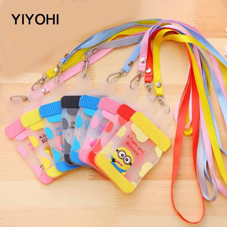 YIYOHI Kawaii Silicone Cute Milk Bottle Shape Hello Kitty Stitch Chi's Neck Hanging BUS & ID Card Holder Case Pouch BAG Holders