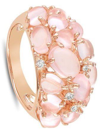 Pink Silver Rose Quartz Diamond Ring.