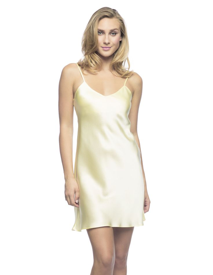 $180 Corazon Slip Du Jour in Lemon.  Exotic-Magic slip!  Living-wear at its best bias-cut silk slip, practically lined front and back neckline featuring golden adjustable spaghetti straps ideal to sparkle under the sun.